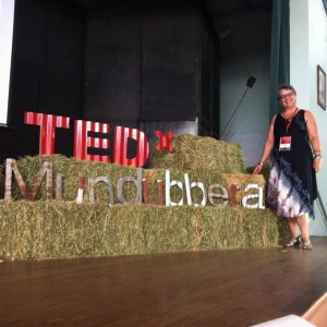 Sally moments before the TEDx begins